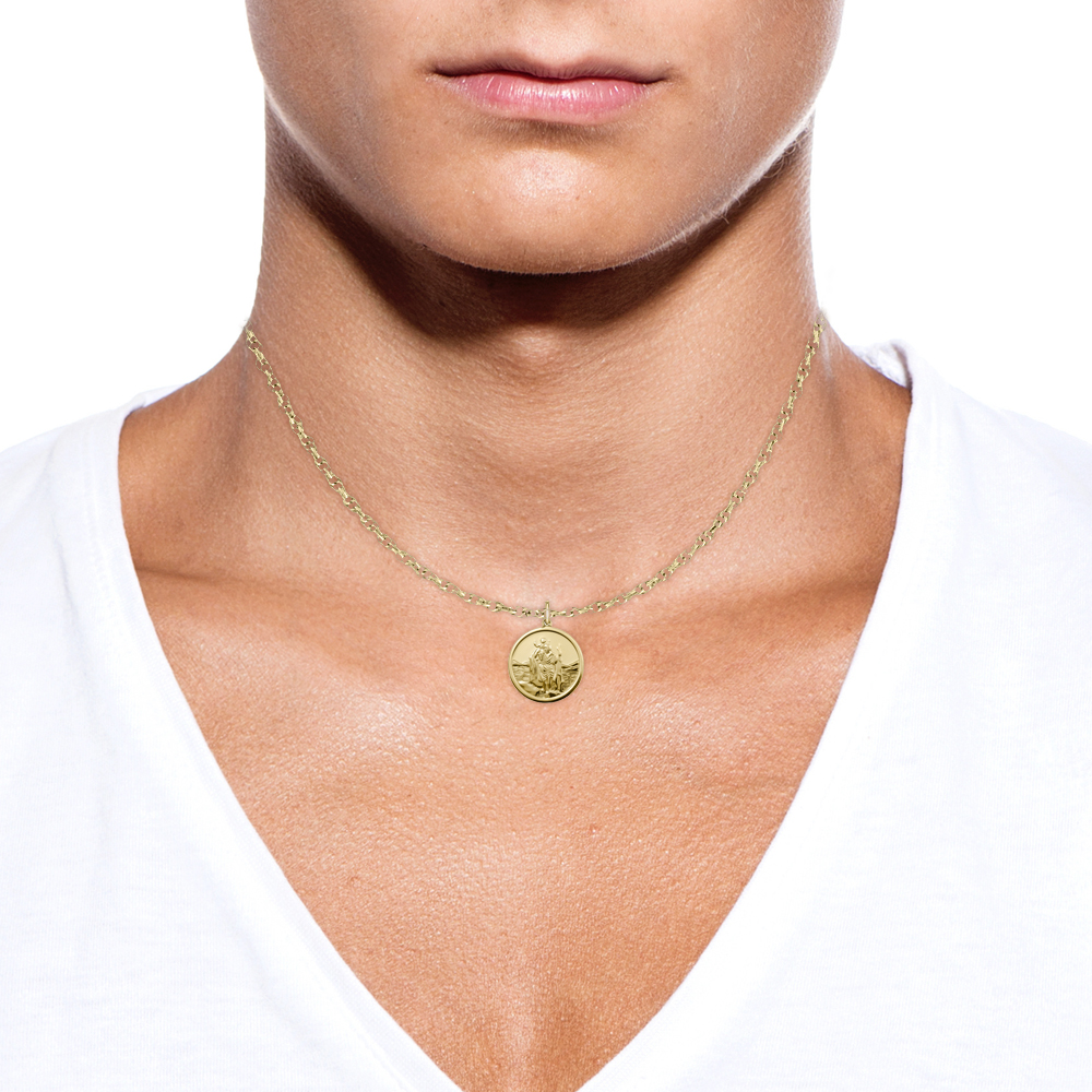 St Christopher Necklace Personalised 9ct Gold Unisex Or
